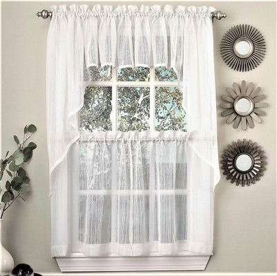Harmony Sheer Kitchen Curtain - White