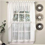 Harmony Sheer Kitchen Curtain - White