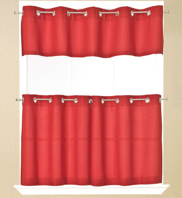 Jackson Grommet Kitchen Curtain - Available in Red, White, Navy, Chocolate