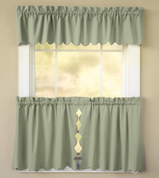 Orleans Tambour Edge Kitchen Curtain - Sage