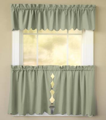 Orleans Tambour Edge Kitchen Curtain - Sage