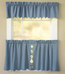 Orleans Tambour Edge Kitchen Curtain - Blue