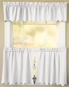 Orleans Tambour Edge Kitchen Curtain - White