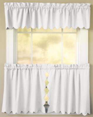 Orleans Tambour Edge Kitchen Curtain - White