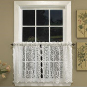 "Hopewell Lace 24"" kitchen curtain tier - White or Cream"