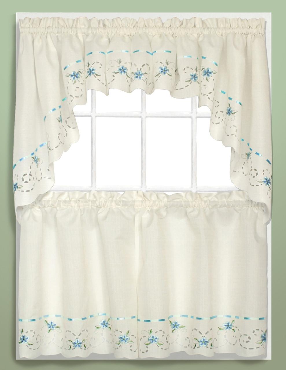 Rachael Embroidered Kitchen Curtain Blue