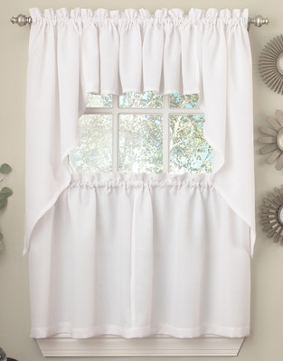 Ribcord white kitchen curtain from Lorraine Home Fashions