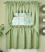 Ribcord Kitchen Curtain - Sage Green