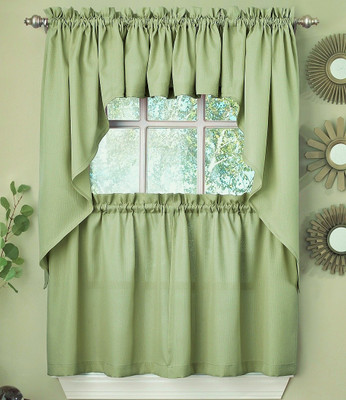 Ribcord Kitchen Curtain Sage Green