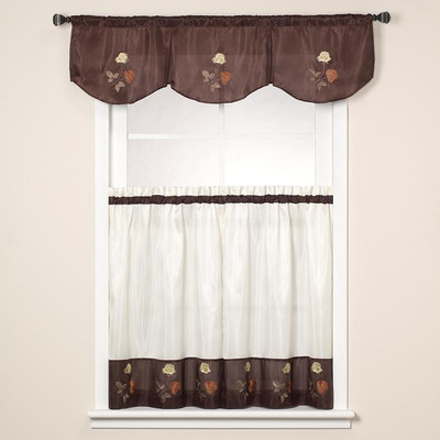 Rose Embroidered Kitchen Curtain - Chocolate Brown