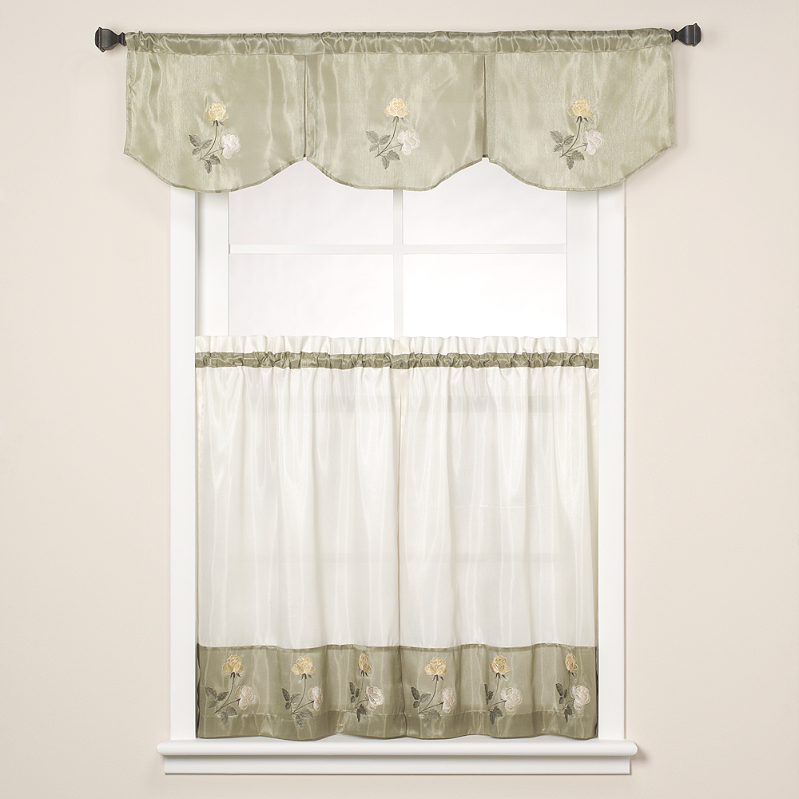 Rose Embroidered Kitchen Curtain Sage Green