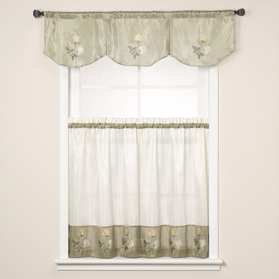 Rose Embroidered Kitchen Curtain - Sage Green