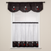 Rose Embroidered Kitchen Curtain - Black