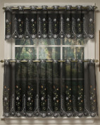Samantha black embroidered kitchen curtain