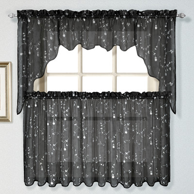embroidered kitchen curtain black linens4less