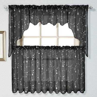 Savannah black embroidered kitchen curtain