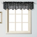 Savannah Embroidered Kitchen Curtain valance - Black