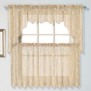 Savannah taupe embroidered kitchen curtain
