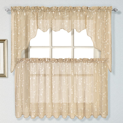 Savannah taupe embroidered kitchen curtain