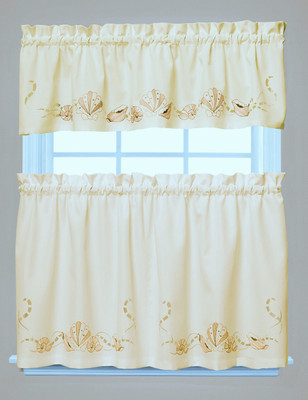 Seabreeze Embroidered Kitchen Curtain - Sand