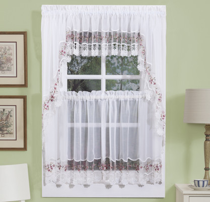 Vintage Embroidered Kitchen Curtain in Rose