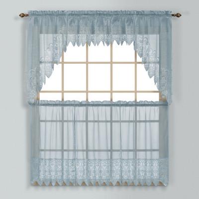 Valerie Macrame Kitchen Curtain - Blue