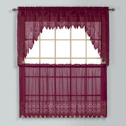 Valerie Macrame Kitchen Curtain - Burgundy