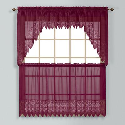 Valerie Macrame Kitchen Curtain Burgundy