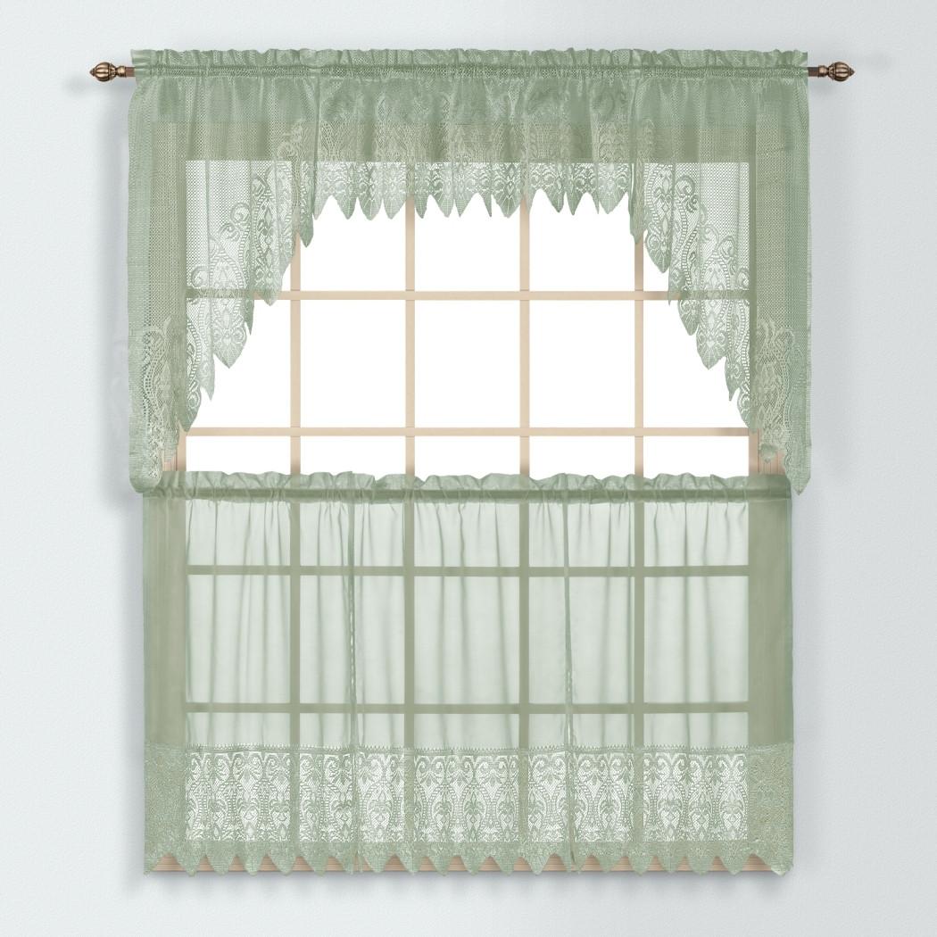 Sage Colored Curtains Kitchen: Valerie Macrame Kitchen Curtain