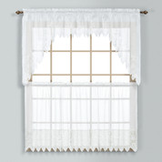 Valerie white macrame lace kitchen curtain from United Curtain