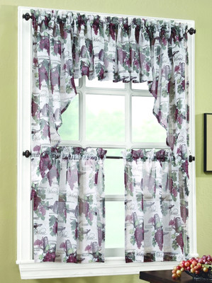 ... Wine Country Sheer Kitchen Curtains   Merlot ...