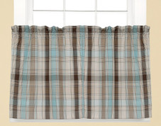 "Cooper 36"" kitchen curtain tier - Blue"