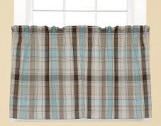 """Cooper 36"""" kitchen curtain tier - Blue"""
