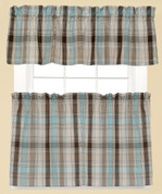 Cooper Plaid Kitchen Curtain - Blue