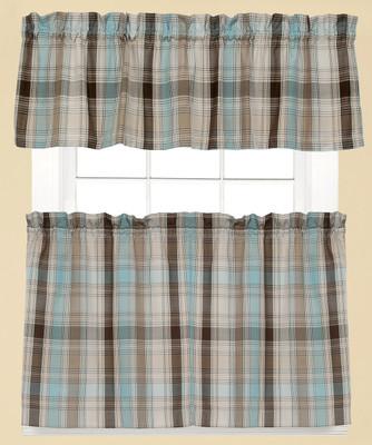 Cooper Plaid Kitchen Curtain - Blue