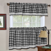 Buffalo Check Kitchen Curtain - Black