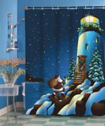 Christmas Holiday Lighthouse Shower Curtain