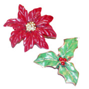 Christmas Poinsettia Shower Hooks