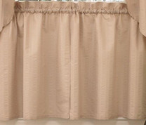 "Seersucker 24"" kitchen curtain tier - Linen"