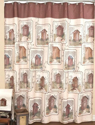 Elegant Outhouses   Fabric Shower Curtain  Outhouse Shower Curtain