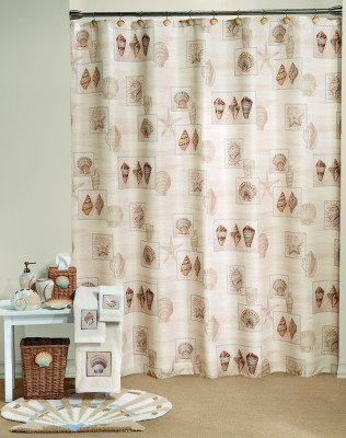 Sarasota seashells shower curtain & bathroom accessories collection