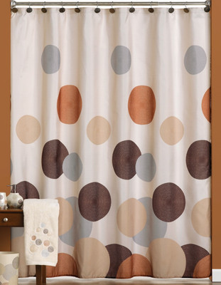 Dots & Rings Fabric Shower Curtain