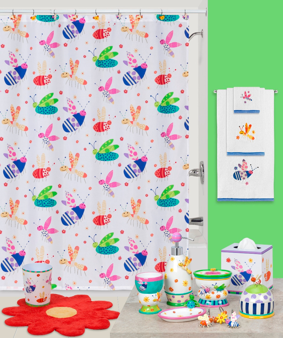 Cute as a bug shower curtain bathroom accessories for Cute bath accessories