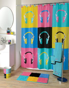 Headphones shower curtain & bathroom accessories collection