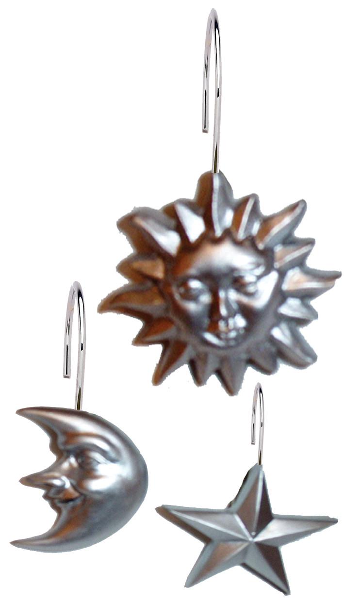 Solar Shower Curtain Hooks Silver Set Of 12
