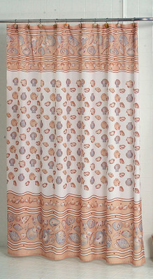 South Beach Seashells Ivory   Fabric Shower Curtain