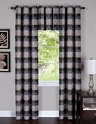 Harvard Black Grommet Top Curtain Panel from Achim (2 panels + 1 valance shown)