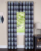 Harvard Blue Grommet Top Curtain Panel from Achim (2 panels + 1 valance shown)