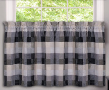 "Harvard 36"" kitchen curtain tier - Black from Achim"
