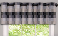 Harvard grommet kitchen curtain valance - Black